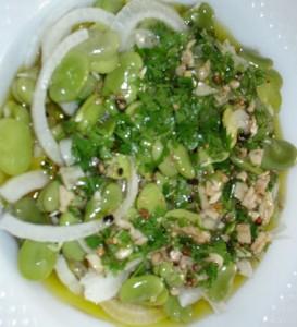 Receita de Salada de Lulas e Favas