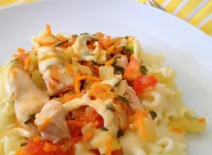 Receita de Orelhinhas com cenoura e alho-francês