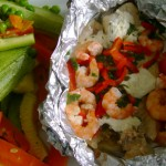 Receita de Papelote de camarão e verduras grelhadas