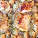 Receita de frango no forno com castanhas e batatinhas