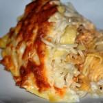 Noodles com frango gratinado