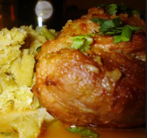 migas de batata com coxinhas de pato