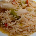 lulas saborosas com arroz de legumes