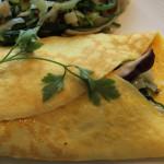 crepe de lentilhas com salada de grao