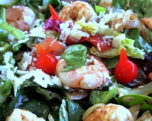 salada de camarao e espargos