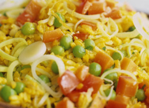 arroz de açafrao com legumes