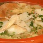caldo com sabor rico de bacalhau