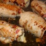 bifes de peru enrolados com arroz de legumes
