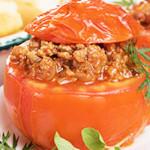 tomates recheados com carne picada