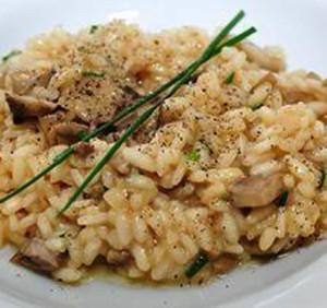 risoto com queijo brie e cogumelos