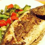 dourada grelhada com legumes