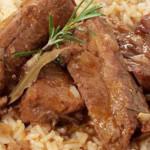 entrecosto no forno com arroz