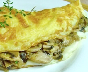 omelete de coelho e cogumelos