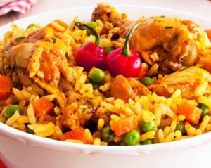 arroz de frango com pimentos